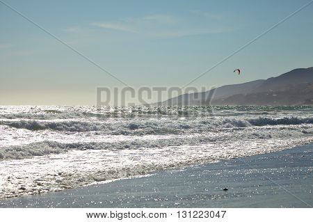Kite surfer California coastal shores : Malibu beaches Summer
