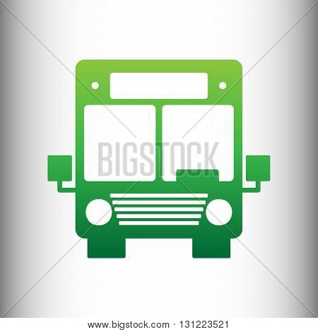 Bus sign. Green gradient icon on gray gradient backround.