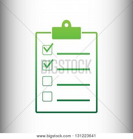 Checklist sign. Green gradient icon on gray gradient backround.