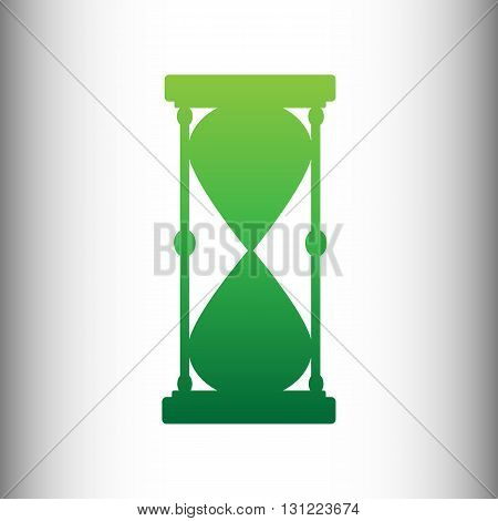 Hourglass sign. Green gradient icon on gray gradient backround.