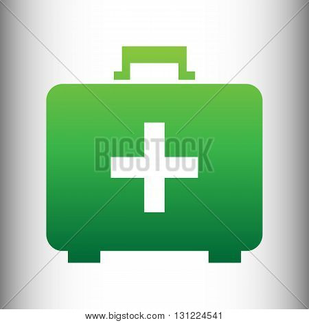 First aid box sign. Green gradient icon on gray gradient backround.