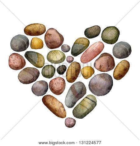 heart with sea stones drawing in watercolor, pebbles isolated at white background, hand drawn watercolor illustration