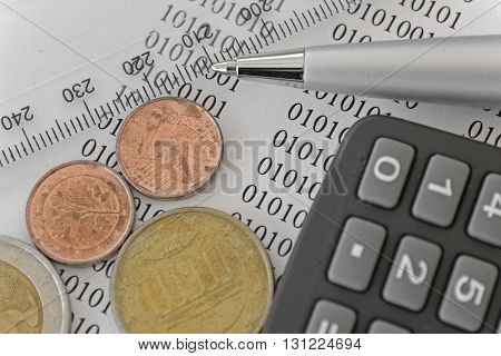 Financial background with money calculator digits ruler and pen.