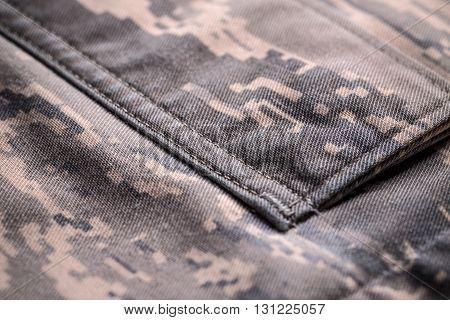 Detail of digital camouflage shirt pocket, close up