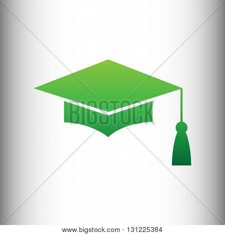 Mortar Board or Graduation Cap, Education symbol. Green gradient icon on gray gradient backround.