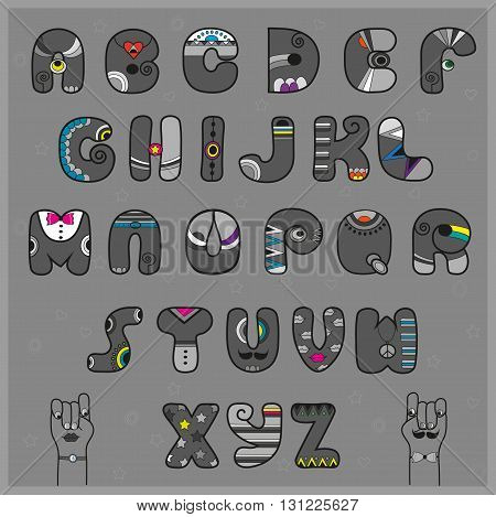 Hipster Alphabet. Funny gray letters with bright parts. Vector Illustration