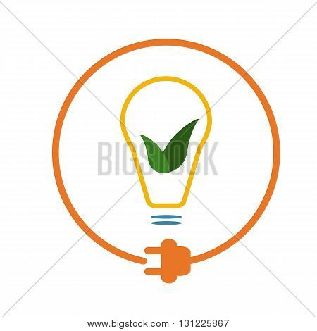 Bulb with green leaves in a circle with plug as symbol of eco-friendly energy source