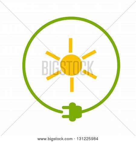 Sun in a circle with plug as symbol of eco-friendly energy source