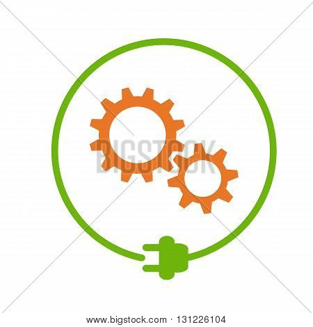 Gears in the circle with plug, electricity maintenance
