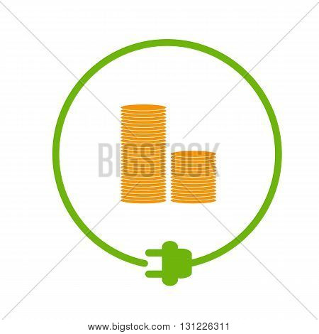 Save money for electricity. Stack of coins in the circle with plug