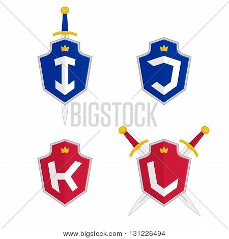 Letter I, J, K, L vector logo templates. Letter logo with shield and sword. Luxury logo, safety logo.