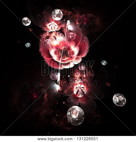 Abstract colorful pink flowers with silver drops on black background. Fantasy fractal design for postcards or t-shirts.