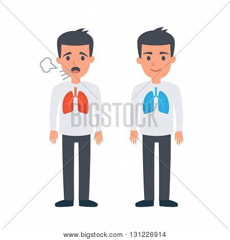 Lungs desiases concept with character. Vector illustration.