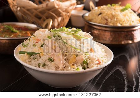 hot fried rice in a white bowl