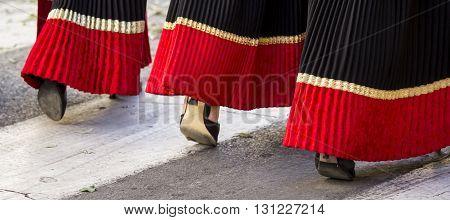 SELARGIUS, ITALY - 2014 September 14: Former marriage Selargino - Sardinia - Detail of the Sardinian custom skirt worn by the girls