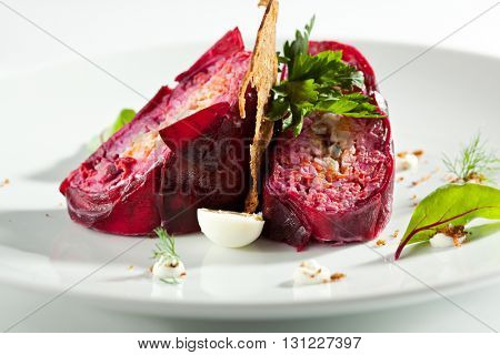 Traditional Russian Herring and Beet Salad with Crisp Bread
