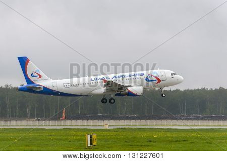 MOSCOW, RUSSIA - MAY 19, 2016: Airbus A320 Ural Airlines landing at Domodedovo International airport.