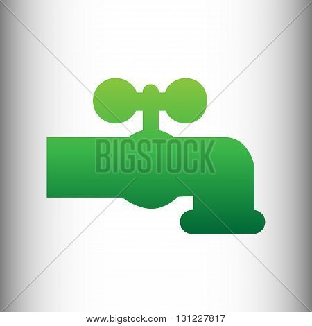 Water faucet sign. Green gradient icon on gray gradient backround.