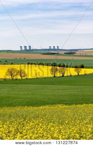 Nuclear Power Plant In Amazing Spring Landscape