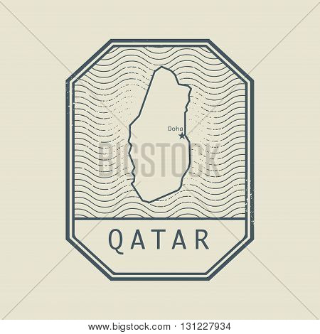 Stamp with the name and map of Qatar, vector illustration