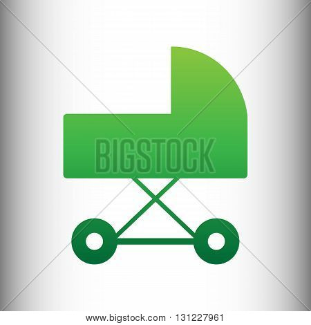 Pram sign. Green gradient icon on gray gradient backround.