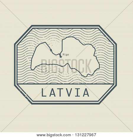 Stamp with the name and map of Latvia, vector illustration