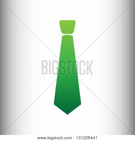 Tie sign. Green gradient icon on gray gradient backround.