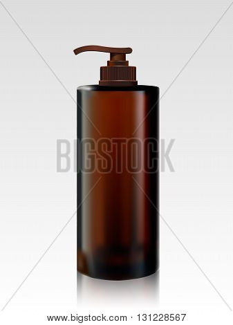 Shampoo bottle isolated on white background. Cosmetic bottle for liquid, shampoo, bath foam. Beauty product package, vector illustration