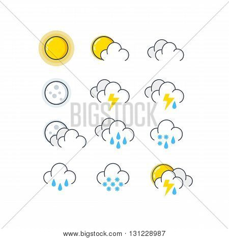 Weather vector icons in line style. Vector Weather icons set.