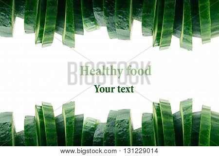 Pyramid from slices of cucumber. Border of cucumber. Frame with copy space. Concept art. Pattern. Food background.