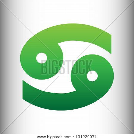 Cancer sign. Green gradient icon on gray gradient backround.