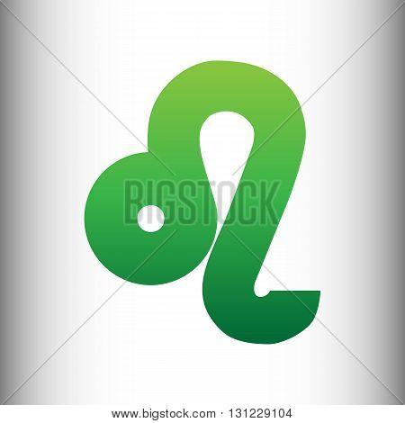 Leo sign. Green gradient icon on gray gradient backround.