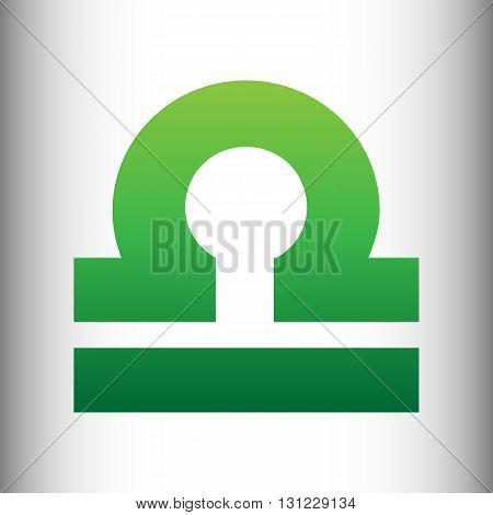 Libra sign. Green gradient icon on gray gradient backround.
