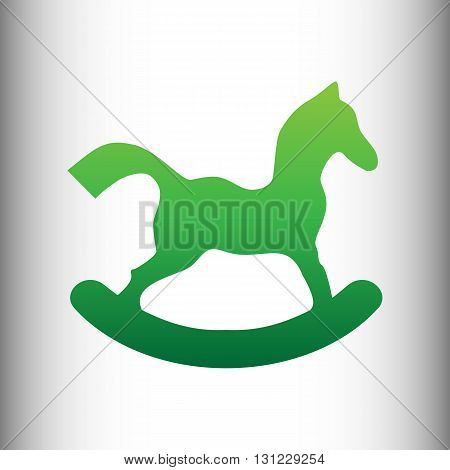 Horse toy sign. Green gradient icon on gray gradient backround.