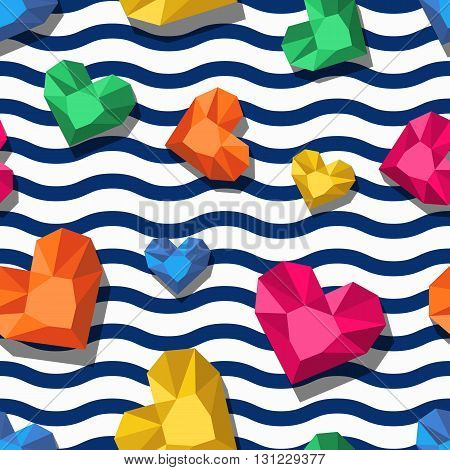 Vector seamless pattern with 3d stylized jewel gems in heart shape and wavy stripes. Summer striped background with hearts and diamonds. Design for fashion prints wrapping paper web background.