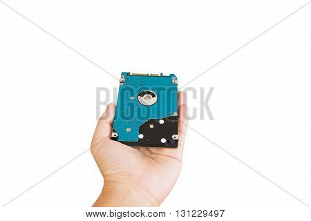 Hand give or presenting harddisk drive hardware for computer or notebook on white background