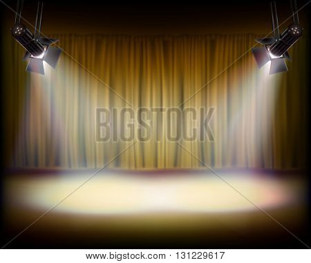 The Stage with golden curtain. Vector illustration.