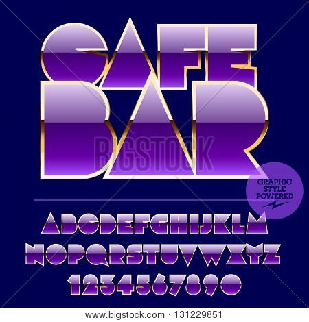 Modern set of violet and golden alphabet letters, numbers and punctuation symbols.Vector sign with text Cafe bar