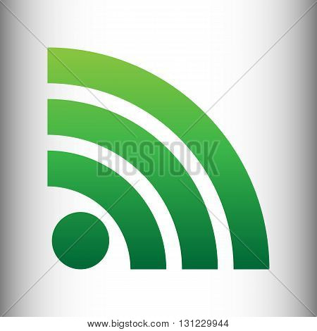 RSS sign. Green gradient icon on gray gradient backround.