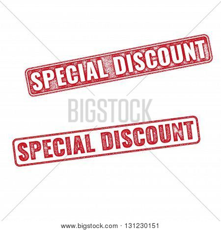 Two textured stamps Special Discount. Vector realistic Special Discount imprints isolated on white background