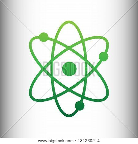 Atom sign. Green gradient icon on gray gradient backround.