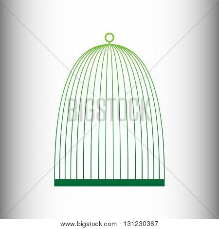 Bird cage sign. Green gradient icon on gray gradient backround.