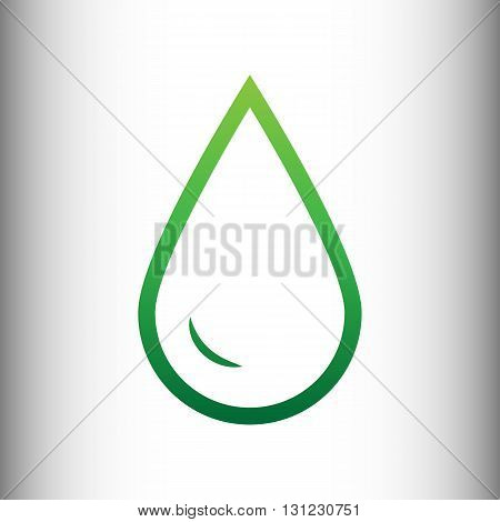 Drop of water sign. Green gradient icon on gray gradient backround.