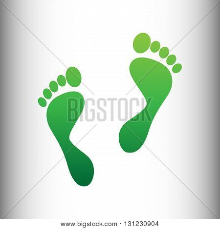 Foot prints sign. Green gradient icon on gray gradient backround.