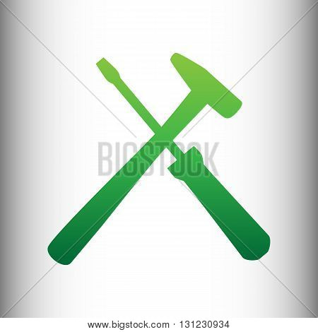 Tools sign. Green gradient icon on gray gradient backround.
