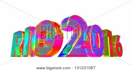 Rio 2016 Multicolored Glass Sign. 3D Illustration.