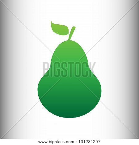 Pear sign. Green gradient icon on gray gradient backround.