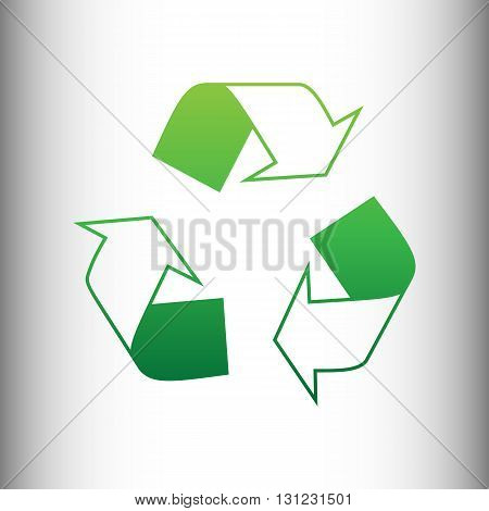 Recycle logo concept. Green gradient icon on gray gradient backround.