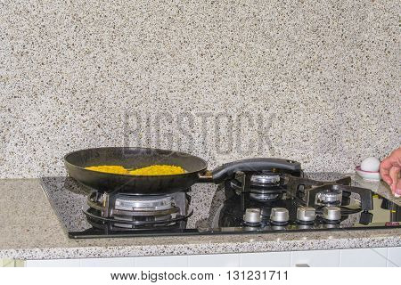 Pan when cooking on a modern gas stove