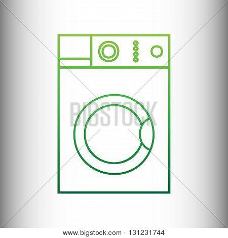 Washing machine sign. Green gradient icon on gray gradient backround.